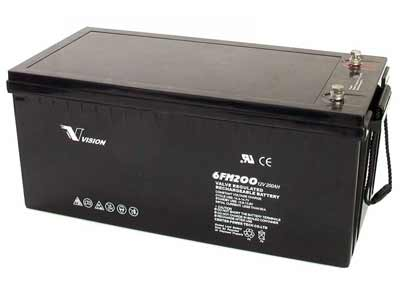 Vision 200Ah/12V Deep Cycle, Sealed Maintenance-free AGM Battery